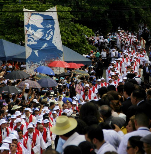 A procession in San Salvador for the beatification Mass of Oscar Romero.