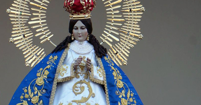 A statue of Our Lady of Health from Patzcuaro during Mass with Pope Francis at Venustiano Carranza Stadium in Morelia, Mexico, on February 16, 2016.