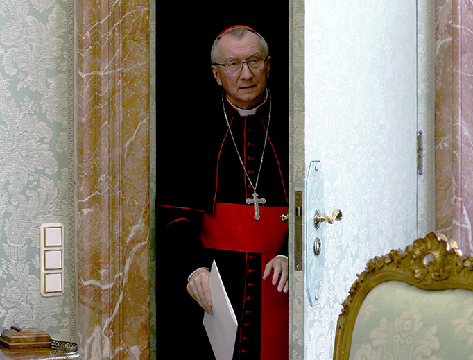 Vatican Secretary of State Cardinal Pietro Parolin attends a papal audience at the Apostolic Palace on Feb. 22 in the Vatican.