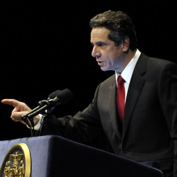 New York Gov. Andrew Cuomo presents his 2011-12 budget proposal in Albany, New York February 1.
