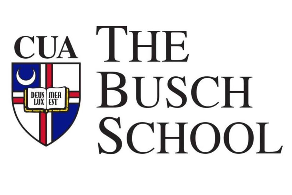 Above, the new school logo; below, an artistic rending of the upcoming updates to the business building, Maloney Hall.