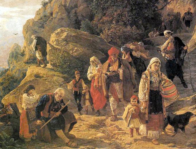 "Uroš Predić, ""Refugees from Herzegovina"", 1889"