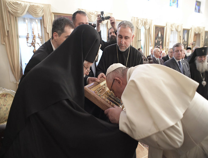 Pope Francis meets with Georgia Patriarch Beatitude Ilia II in Tbilisi, Georgia, Sept. 30, during his papal visit to the country.
