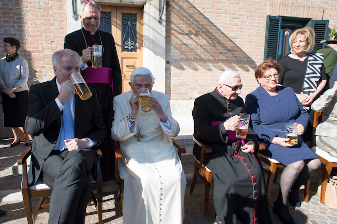 Pope Emeritus Benedict XVI celebrating his 90th birthday with a delegation from Bavaria, April 17, 2017.