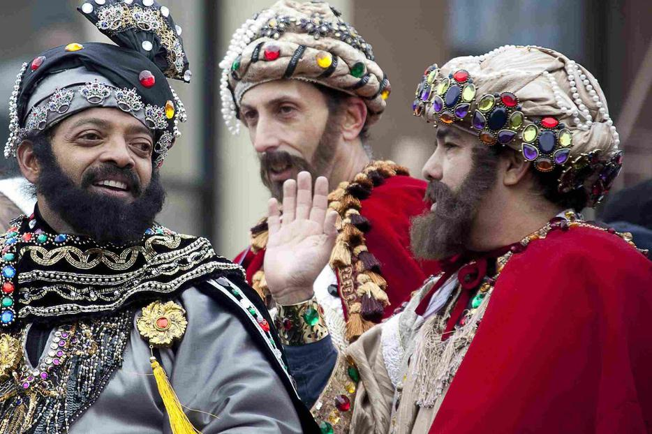 The Magi — Junio Alvarado, as King Melchior, Donal Friedman as King Gaspar, and Marcus Luna as King Balthasar — participate in the 32nd annual Three Kings Day Parade in New York Jan. 6.