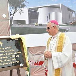 Bishop Paul Hinder blesses the cornerstone of a new UAE church.