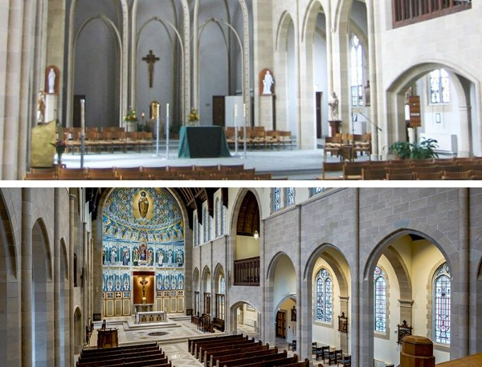 St. Turibius Chapel is seen at the Pontifical College Josephinum in Ohio: Top-to-bottom images show what it looked like before and after the restoration.