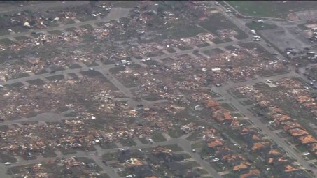 Local news in Oklahoma City shows the devastation.