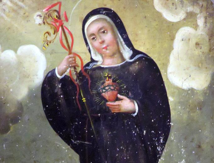 """Saint Gertrude the Great"" (anonymous 19th-century retablo)"