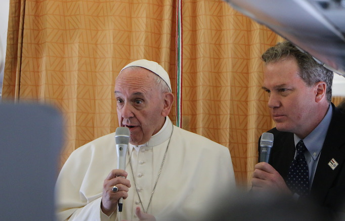 Pope Francis speaking to reporters on the papal plane to Cairo, April 28, 2017.