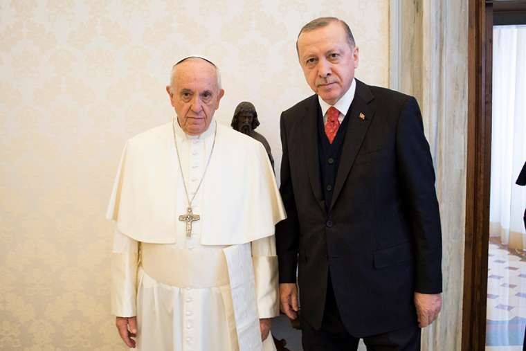 Pope Francis with President Tayyip Erdogan of Turkey in Vatican City on February 5, 2018.