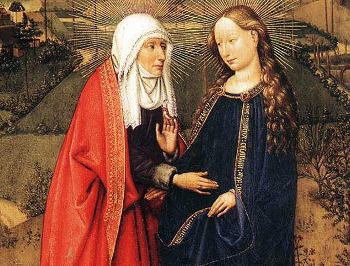 """Jacques Daret (1401-1468), """"The Visitation (from the St. Vaast Altarpiece),"""" 1434"""