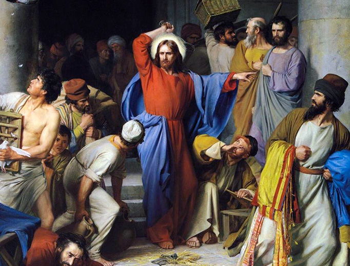 """Carl Heinrich Bloch (1834-1890), """"Jesus Casting Out The Money Changers at the Temple"""""""