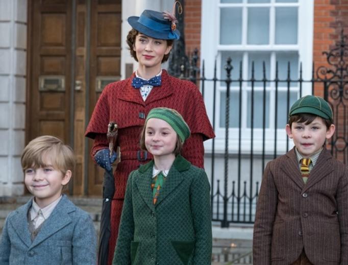 Emily Blunt, Pixie Davies, Nathanael Saleh and Joel Dawson in Mary Poppins Returns