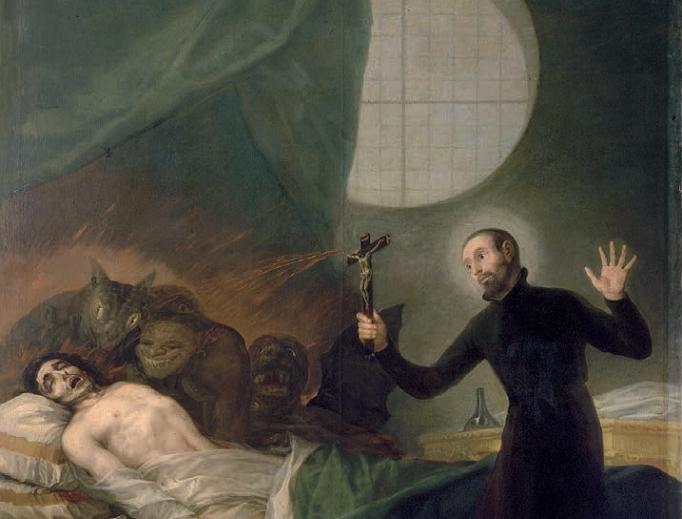 St. Francis Borgia performs an exorcism, by Goya