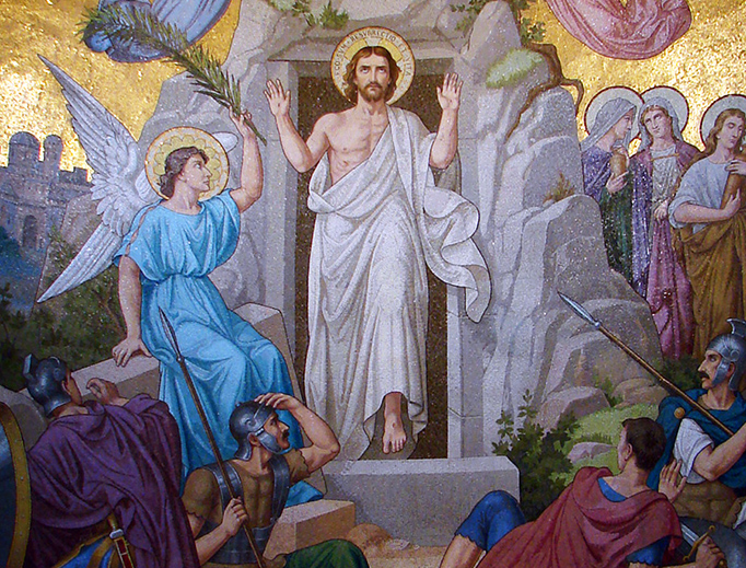 """Resurrection"" mosaic in the Basilica of Our Lady of the Rosary in Lourdes, France"