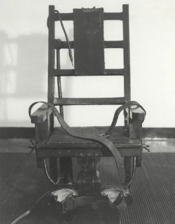 The electric chair once used for executions at New York state's Sing Sing prison.