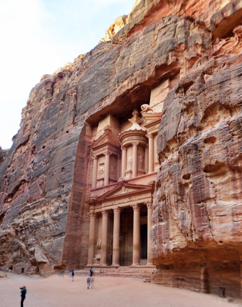 The Nabataeans carved their tombs and their city into the red rock on this valley.