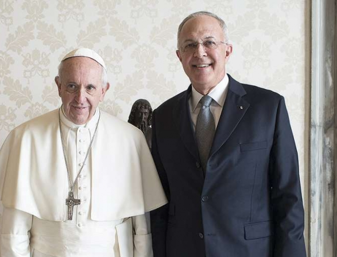 Pope Francis meets with Supreme Knight Carl Anderson of the Knights of the Columbus, February 16, 2017.