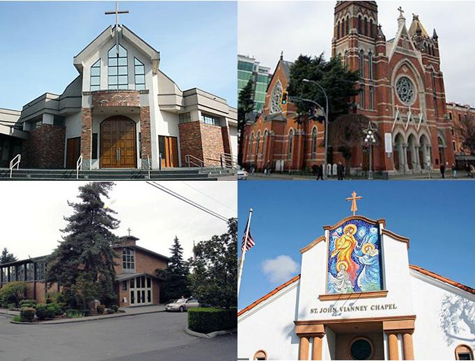 CLOCKWISE, FROM UPPER LEFT: Our Lady of Fatima Church (Victoria, British Columbia); St. Andrew's Cathedral (Victoria, British Columbia); St. John Vianney Chapel (Balboa Island, California); St. Monica (Mercer Island, Washington).