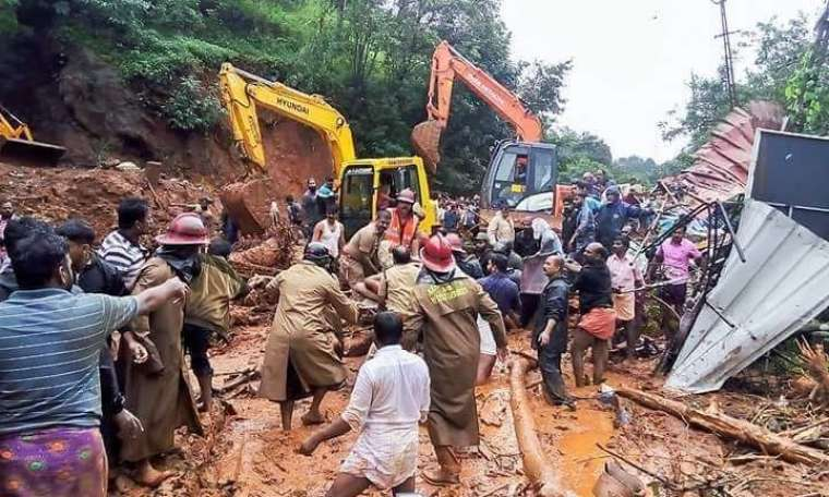 Rescue and recovery efforts follow a landslide in Kerala Aug. 18.