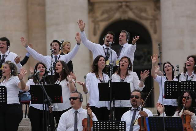 A 'Renewal in the Holy Spirit Movement' concert in St. Peter's Square July 3, 2015.