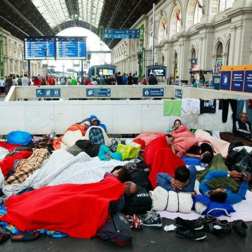 Refugees at Budapest's Keleti railway station on Sept. 4, 2015.