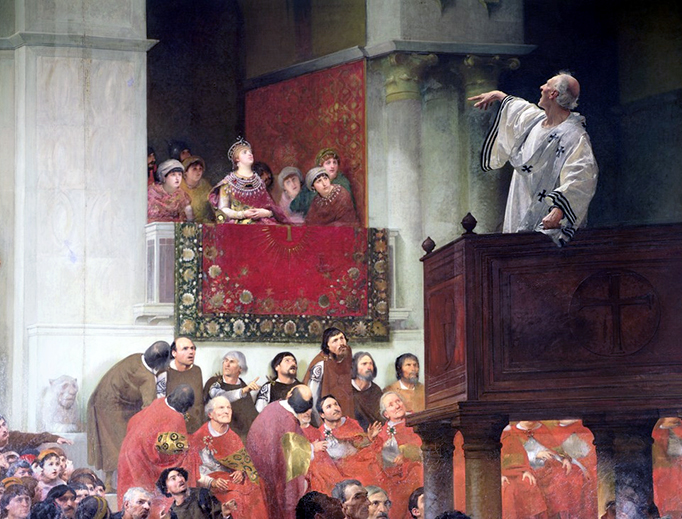 "John Wencker, ""St. John Chrysostom Preaching Before the Empress Eudoxia,"" c. 1880"