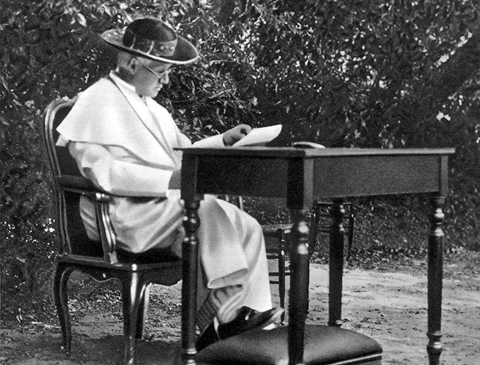 Pope Pius X in the Vatican Gardens in 1913.