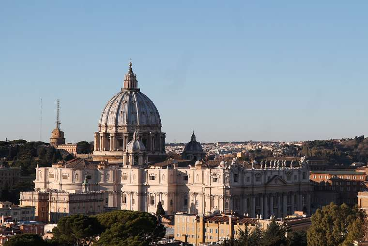 A view of St. Peter's Basilica in Vatican City.