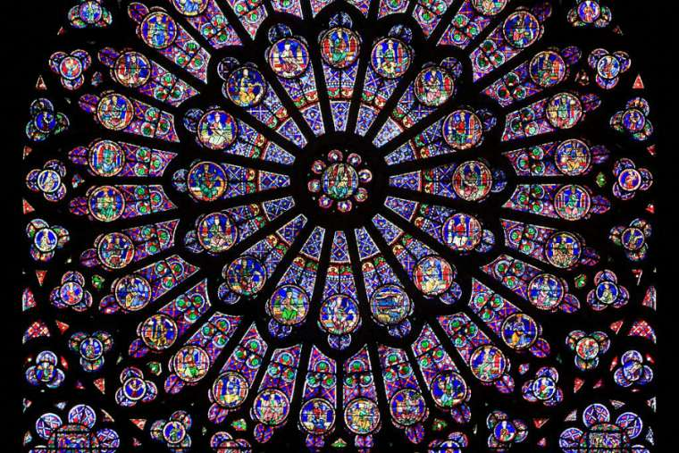 The rose window at the Cathedral of Notre Dame, Paris.