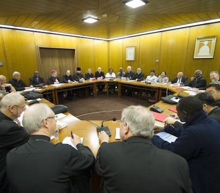 """The """"working groups"""" during the assembly of the Synod of Bishops in Vatican City on Oct. 6."""