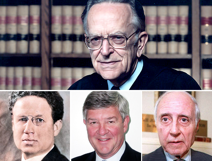 TOP: Justice Harry Blackmun [U.S. Supreme Court official photo]. BOTTOM (L to R): Harry Emerson Fosdick [Wikimedia Commons/colorized by Register staff], George Frampton [Wikimedia Commons] and Lawrence Lader [Bob Strong/AFP via Getty Images]
