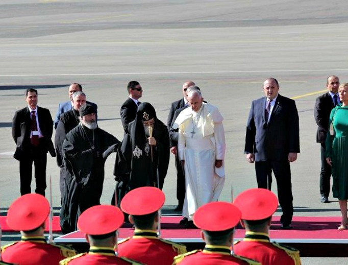 Pope Francis arrives at the Tbilisi airport in Georgia Sept. 30.