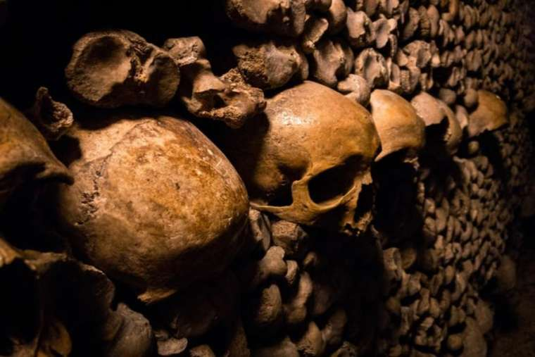 Catacombs of Paris contain the remains of the deceased.