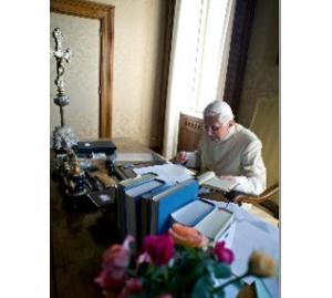 Pope Benedict XVI with his books