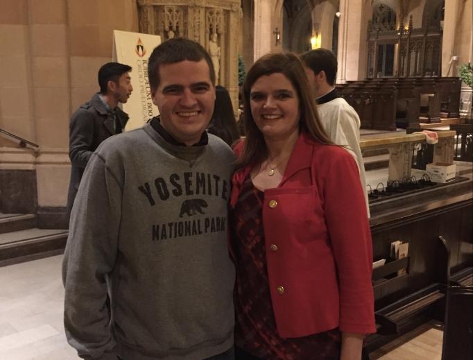 Kathy and Nathan Folan at St. Dominic's Catholic Church in San Francisco.