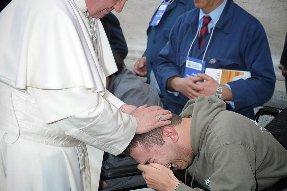 Above, Pope Francis blesses a young man. Below, Maximilien Luce, The Good Samaritan