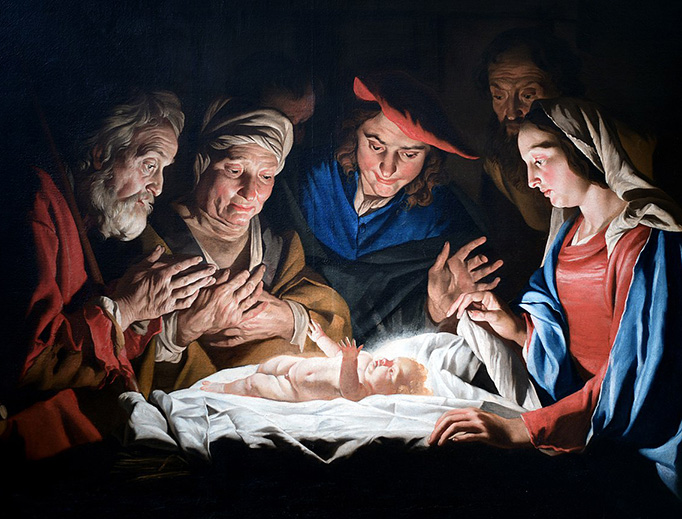 "Matthias Stomer (1600-1650), ""Adoration of the Shepherds"""