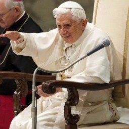 Pope Benedict XVI greets pilgrims during his general audience in Paul VI hall at the Vatican Jan. 19.
