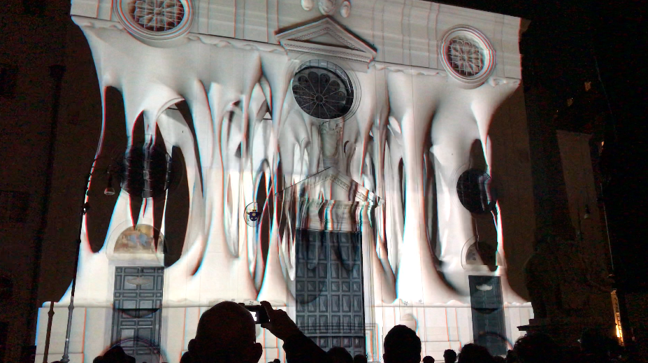 An image of the Solid Light Festival show, projected onto the facade of the basilica of Santa Maria Sopra Minerva.