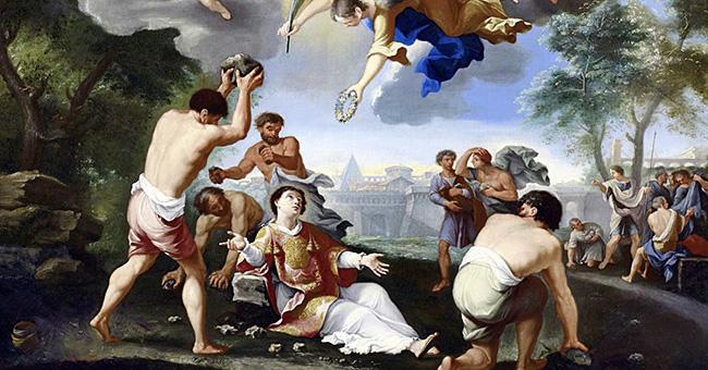 """The Stoning of Saint Stephen"", attributed to Luigi Garzi (1638-1721)"