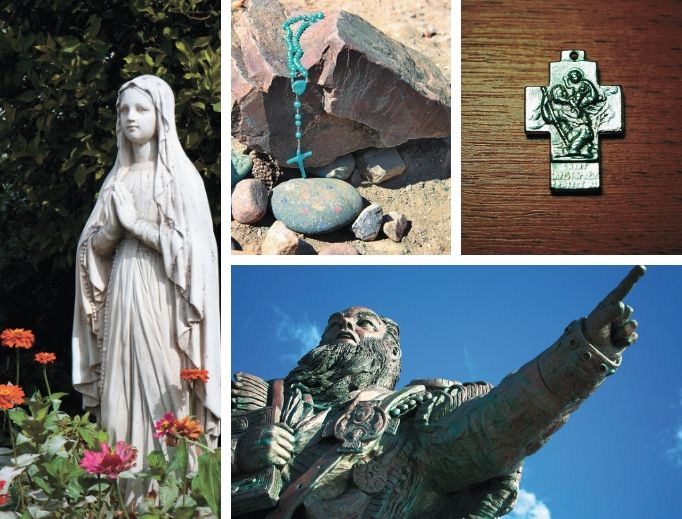 Clockwise from left: The Blessed Mother, St. Christopher and St. Brendan are patrons of summer pastimes.