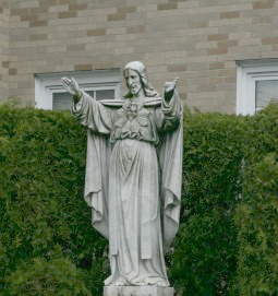 Statue of Jesus at the rectory of Sacred Heart Parish in Watertown, Mass.