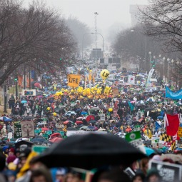NOT DISCOURAGED BY RAIN. Thousands proceed up Constitution Avenue at the March for Life Jan. 23 in Washington.