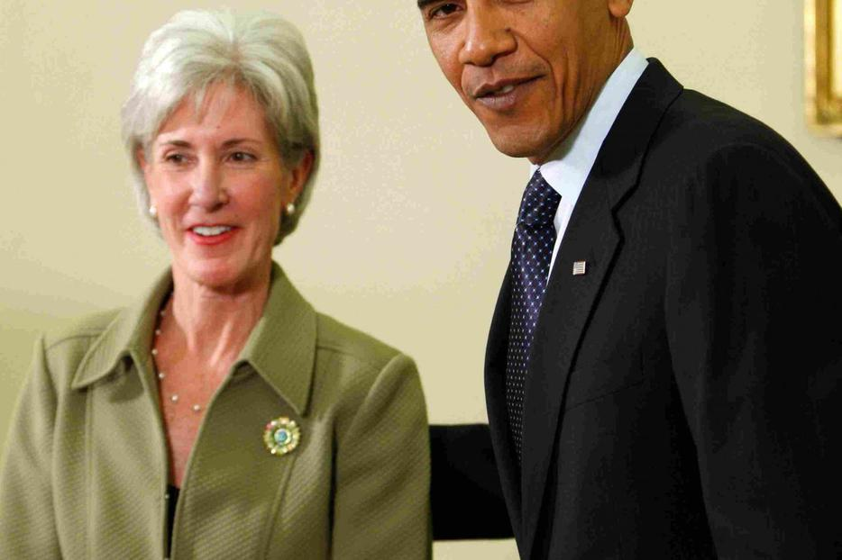 President Obama with Kathleen Sebelius after she was sworn in yesterday.