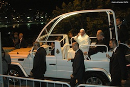 Pope Francis arriving to the media center at Forte Copa on Copacabana beach as he makes his way to the prayer vigil July 27.