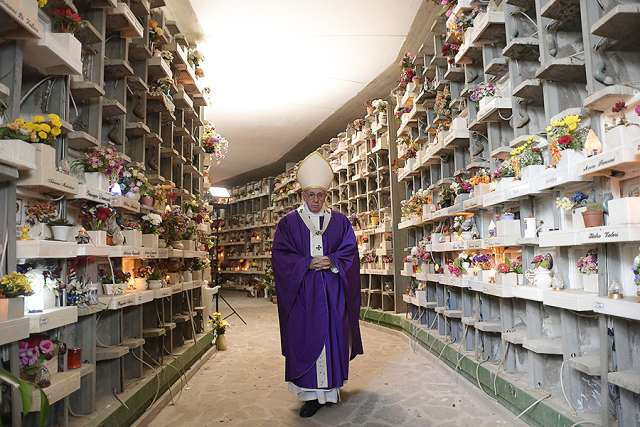 Pope Francis celebrates Mass at the Prima Porta Cemetery on All Souls' Day, Nov. 2.