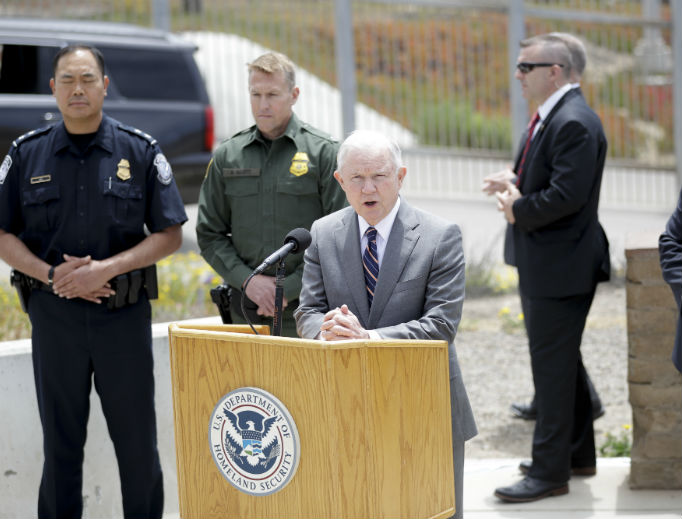 Attorney General Jeff Sessions speaks during a news conference near the border with Tijuana, Mexico, Monday, May 7 in San Diego. Sessions discussed immigration enforcement during his southern California visit.