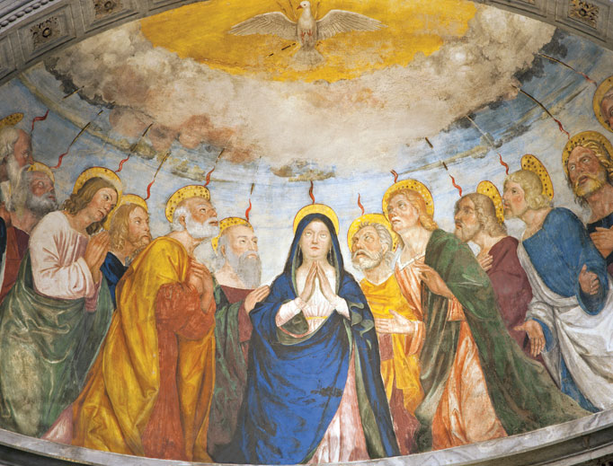 A painting depicting Pentecost from the year 1506, designed by Angelo di Giovanni, adorns the apse of the Chapel Miniscalchi in St. Anastasia Church in Verona, Italy.